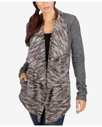 Lucky Brand | Gray Draped Open-front Cardigan | Lyst