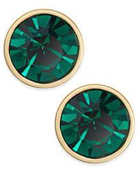kate spade new york | Gold-tone Green Crystal Stud Earrings | Lyst