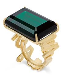 kate spade new york | Metallic Gold-tone Green Crystal Cocktail Ring | Lyst