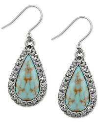 Lucky Brand - Metallic Silver-tone Blue-stone Teardrop Drop Earrings - Lyst