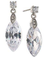 Carolee   Metallic Silver-tone Marquise Crystal Drop Earrings   Lyst