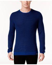 Calvin Klein   Blue Men's Crew-neck Merino Plait Sweater for Men   Lyst