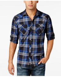 INC International Concepts   Blue Men's Plaid Shirt, Only At Macy's for Men   Lyst