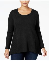 Style & Co. | Black Plus Size Pointelle Sweater, Only At Macy's | Lyst