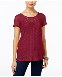 INC International Concepts | Red Petite Multi-stitch Knit Top, Only At Macy's | Lyst