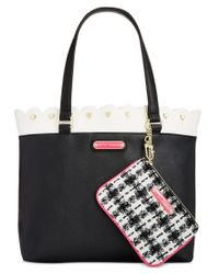 Betsey Johnson | Black Scallop-trim Tote With Pouch | Lyst