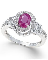 Macy's | Metallic Ruby (7/8 Ct. T.w.) And Diamond (3/8 Ct. T.w.) Ring In 10k White Gold | Lyst