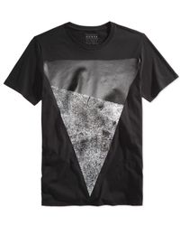 Guess - Black Men's Two-tone Graphic-print T-shirt for Men - Lyst