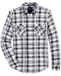 Guess | White Men's Layne Plaid Military Shirt for Men | Lyst
