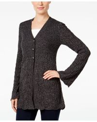 Style & Co. | Black Petite Three-button Marled Cardigan, Only At Macy's | Lyst