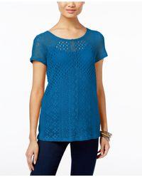 INC International Concepts | Blue Petite Multi-stitch Knit Top | Lyst
