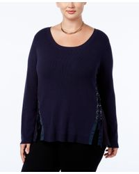 INC International Concepts | Blue Plus Size Lace-up Sweater, Only At Macy's | Lyst
