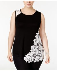INC International Concepts | Black Plus Size Lace-embellished Tank Top, Only At Macy's | Lyst