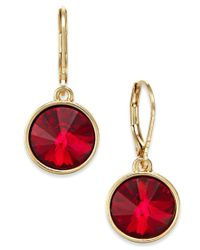 Charter Club - Red Bezel-set Crystal Earrings, Only At Macy's - Lyst