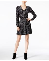 INC International Concepts | Black Intarsia Fit & Flare Sweater Dress, Only At Macy's | Lyst