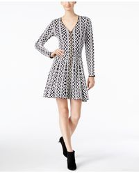 INC International Concepts | Black Jacquard Fit & Flare Sweater Dress, Only At Macy's | Lyst