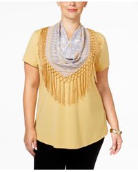 Style & Co.   Multicolor Plus Size T-shirt With Printed Scarf, Only At Macy's   Lyst