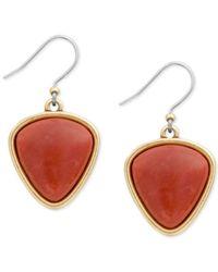 Lucky Brand Metallic Gold-tone Stone Drop Earrings
