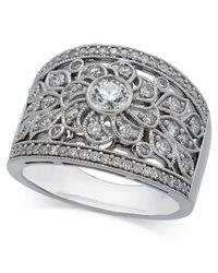 Macy's - Metallic Diamond Filigree Statement Ring (1 Ct. T.w.) In 14k White Gold - Lyst