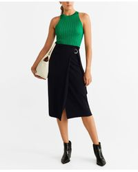 Mango Black Buckle Wrap Skirt