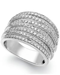 Macy's - Metallic Diamond Stacked Ring In Sterling Silver (1/2 Ct. T.w.) - Lyst
