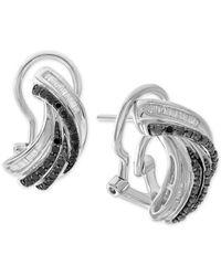 Macy's Metallic Diamond Twist Drop Earrings (1/2 Ct. T.w.) In Sterling Silver