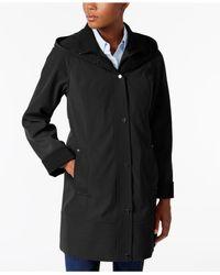 Jones New York - Black Two-toned Hooded Raincoat - Lyst