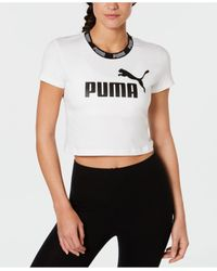 PUMA White Amplified Logo Cropped T-shirt