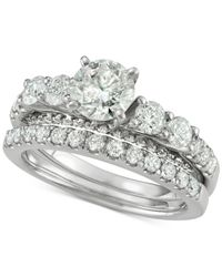 Macy's - Metallic Diamond Bridal Set (2 Ct. T.w.) In 14k White Gold - Lyst