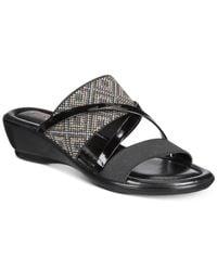 Easy Street Black Palazzo Slip On Strappy Sandals