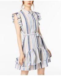Julia Jordan - Blue Stripe Ruffle Shirtdress - Lyst