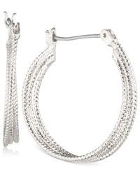 """Nine West Metallic Multi-row 1"""" Textured Hoop Earrings"""