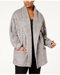 Hue Gray Plus Size Illusion Cozy Open-front Robe