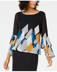 Alfani Multicolor Printed Tiered-sleeve Bubble Top, Created For Macy