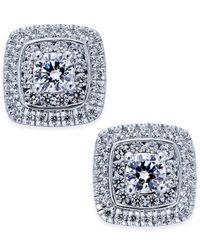 Macy's - Multicolor Diamond Square Cluster Stud Earrings (1-1/10 Ct. T.w.) In 14k White Gold - Lyst