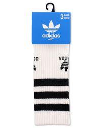 Adidas White Originals Roller Quarter Socks 3-pack for men