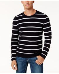 INC International Concepts - Black Men's Textured Striped Sweater for Men - Lyst