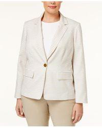 Calvin Klein Natural Plus Striped Long Sleeve One-button Blazer