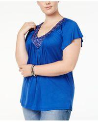 Soprano | Blue Plus Size Top, Short Sleeve Embellished V-neck | Lyst