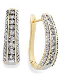 Macy's Metallic Diamond Channel J-hoop Earrings In 14k White Gold (1 Ct. T.w.)