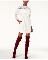 Kensie   White Ruffled Eyelet-lace Dress   Lyst