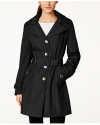 Calvin Klein Black Single-Breasted Water-Resistant Trench Coat