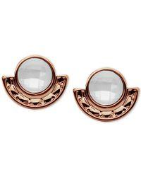 Lonna & Lilly - Metallic Rose Gold-tone Imitation Pearl Stone Stud Earrings - Lyst