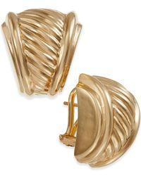 Macy's - Metallic Ribbed Earrings In 14k Gold - Lyst