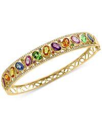 Effy Collection | Metallic Multi-gemstone (7 Ct. T.w.) And Diamond (3/8 Ct. T.w.) Openwork Bangle Bracelet In 14k Gold | Lyst