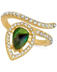 RACHEL Rachel Roy | Metallic Gold-tone Abalone-look And Pave Wrap Ring | Lyst