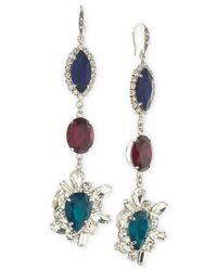 ABS By Allen Schwartz | Multicolor Silver-tone Tri-color Crystal Drop Earrings | Lyst