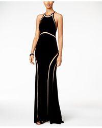 Xscape | Black Velvet Illusion Cutout Gown | Lyst