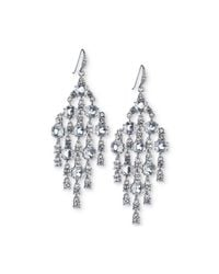 Carolee - White Silver-tone Crystal Chandelier Earrings - Lyst
