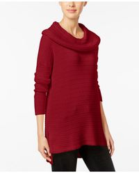 Style & Co. | Red Petite Mixed-stitch Cowl-neck Sweater Tunic | Lyst